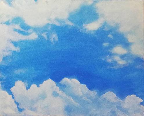Wolken, 2019, 50 x 40 cm, Öl auf Leinwand