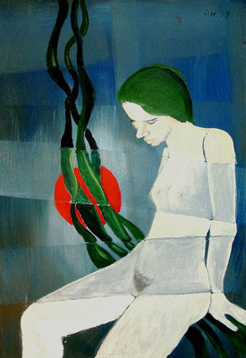 Gedanken mit roter Sonne, 1999, 48 x 68 cm, Öl auf Hartfaser