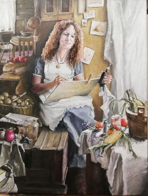 """Portrait mit """"Dampfi"""", 2019, 40 x 50 cm, Öl auf Leinwand"""