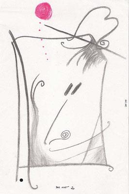 Der Hut 2, 1997, A4, Kohle, Kreide auf Papier