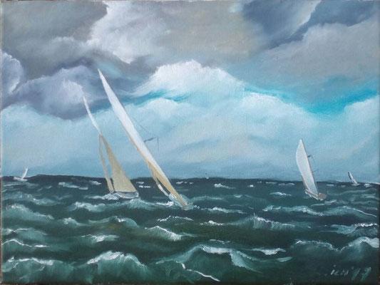 Boote, 2017, 40 x 40 cm, Öl auf Leinwand