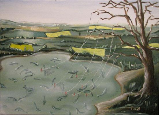 Der Angelbaum, 2009, 70 x 50 cm, Öl auf Leinwand
