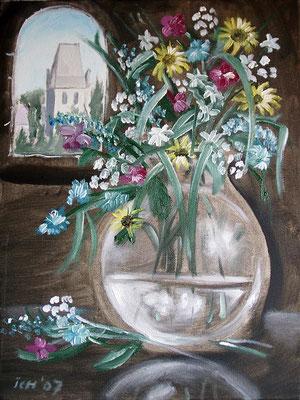 Vase und Kirche Osterhausen, 2007, 50 x 40 cm, Öl auf Leinwand