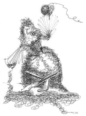 Fadenfrau, 1997, Fineliner auf Papier