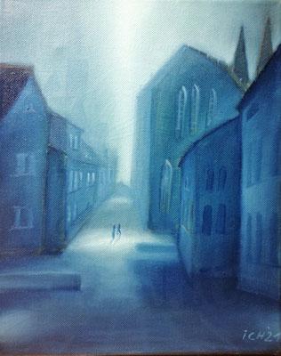 Into the blue light, 2021, 24 x 30 cm, Öl auf Leinwand