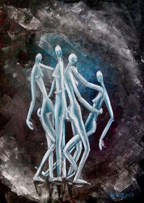 Femininer Reigen, 2000, 48 x 68 cm, Öl auf Hartfaser