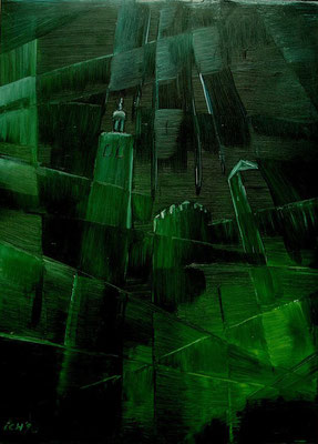 Die Besucher, 1998, 69 x 98 cm, Öl auf Druckplatte
