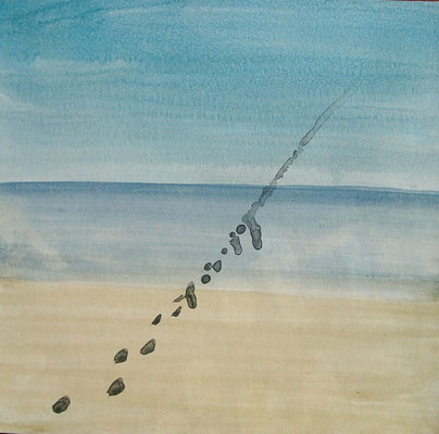 Der geistige Weg kennt keinen Horizont, 1997, 14 x 14 cm, Wasserfarbe, Tusche auf Karton