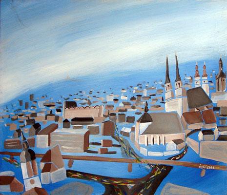 Halle an der Saale, 2000, 64 x 62 cm, Öl auf Hartfaser