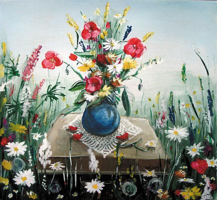 Blumenwiese, 2003, 72 x 64, Acryl auf Hartfaser