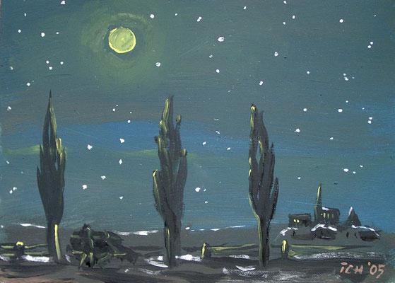Nacht, 2005, 21 x 30 cm, Abtönfarbe auf Hartfaser