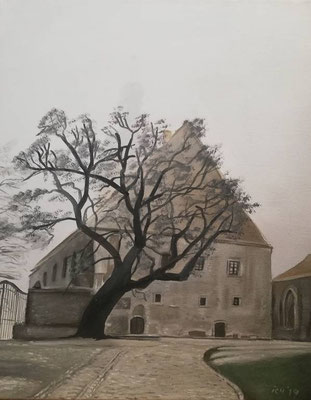 Nebelburg 4, 2019, 40 x 50 cm, Öl auf Leinwand