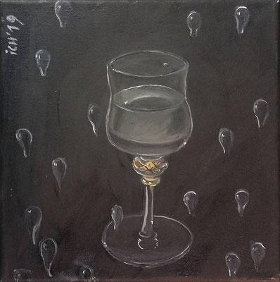 Weinglas in Umkehrung, 2019, 20 x 20 cm, Öl auf Leinwand