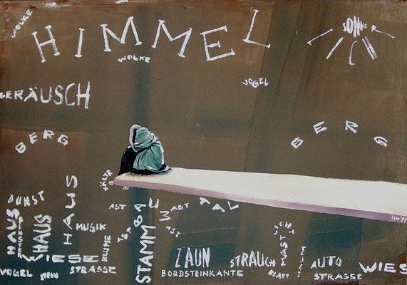 Wortbild, 1999, 68 x 48 cm, Mischtechnik auf Hartfaser