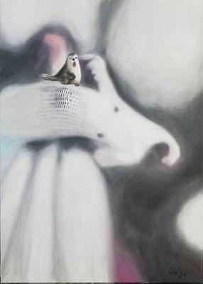 Ellenbogen-Gesellschaft, 2020, 50 x 70 cm, Öl auf Leinwand