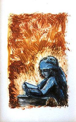 Die Lesende, 1997, 21,5 x 32 cm, Öl auf Hochglanzkarton