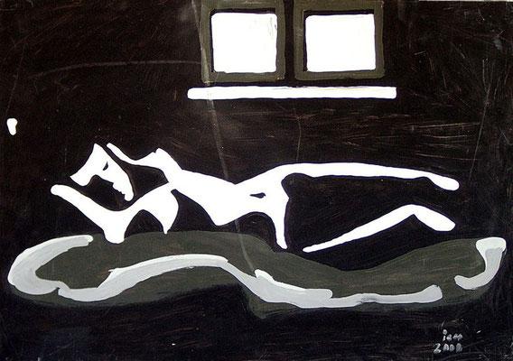 Liegende mit Fensterbank, 2000, 68 x 48 cm, Öl auf Hartfaser