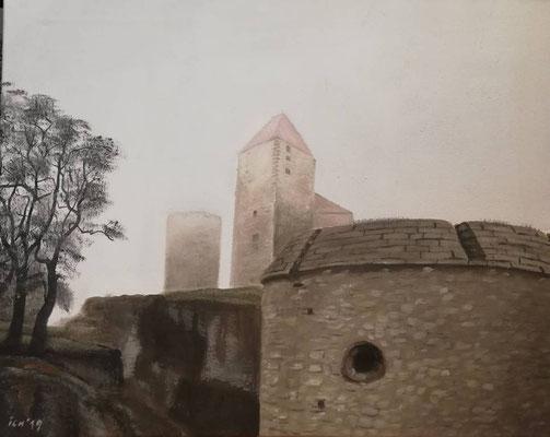 Nebelburg 3, 2019, 50 x 40 cm, Öl auf Leinwand