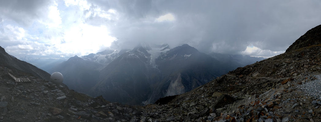 "The great view from the ""Domhütte"" into the valley of the Monte-Rosa area."