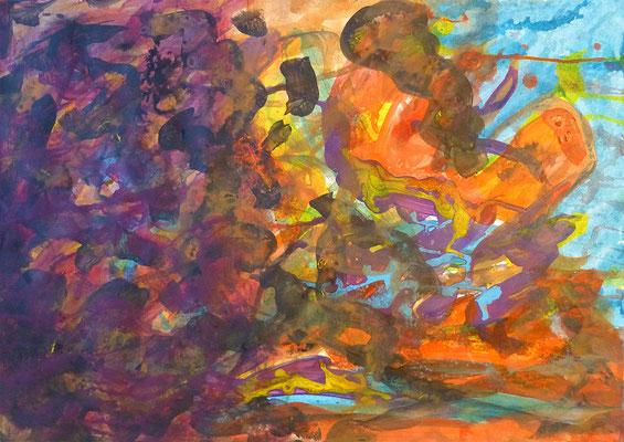 abstrakte Zeichnung No. 2, 30x42 cm, Acryl auf Papier, Grundton Lila Orange