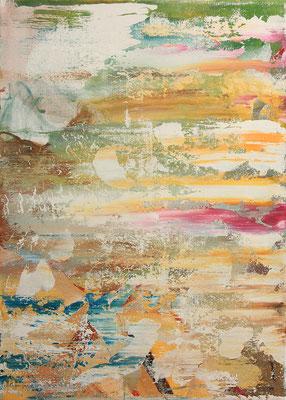 abstrakte Komposition, 70x50 cm, Acryl auf Leinwand, Weiße wolkenartige Flächen ziehen scheinbar seitlich durch das Bild und schimmern in den Farben eines Sonnenuntergangs in der Hauptfarbe Gelborange sowie Spuren von Rot, Blau und Grün.