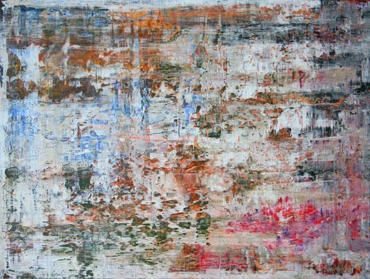 abstrakte Komposition, 63x83 cm, Acryl auf MFD, In mehreren Durchgängen angelegte Farbstrukturen in Blau, Magenta, Grün und Schwarz mit Weiß abgedeckt und nach Trocknung wurde das Weiß partiell abgetragen, so dass ganz neue Strukturen hervortreten.