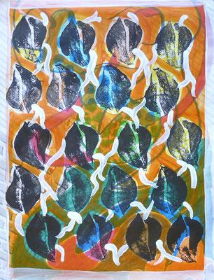 abstrakte serielle Zeichnung mit Überdruck weiß, Verweißung, 30x21 cm, Acryl auf Papier
