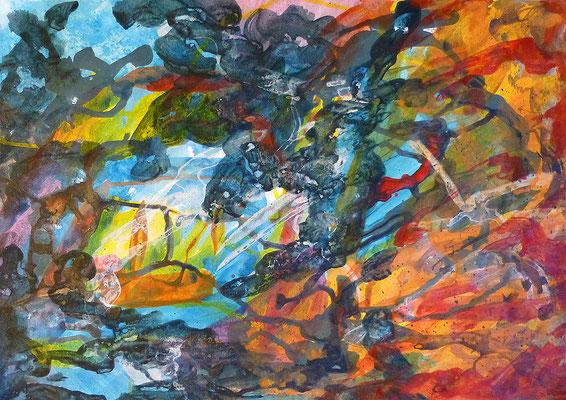 abstrakte Zeichnung No. 1, 30x42 cm, Acryl auf Papier, Grundton Blau Orange