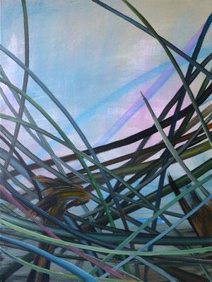 abstrakte Komposition, Gräser, 80x60 cm, Acryl auf Leinwand, Grundton Blau