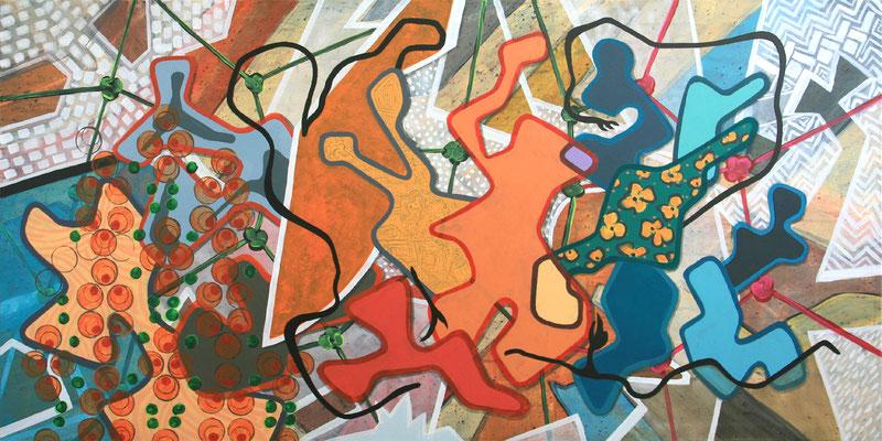 abstrakte figurale Komposition, 80x160 cm, Acryl auf Leinwand, Werknummer 9