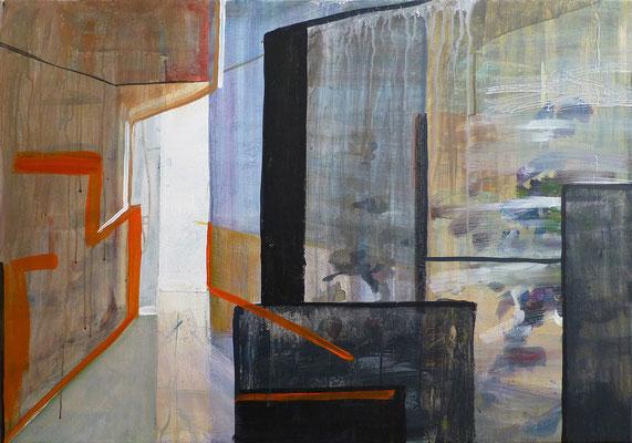 abstrakte räumliche Komposition, 75x100 cm, Acryl auf Leinwand