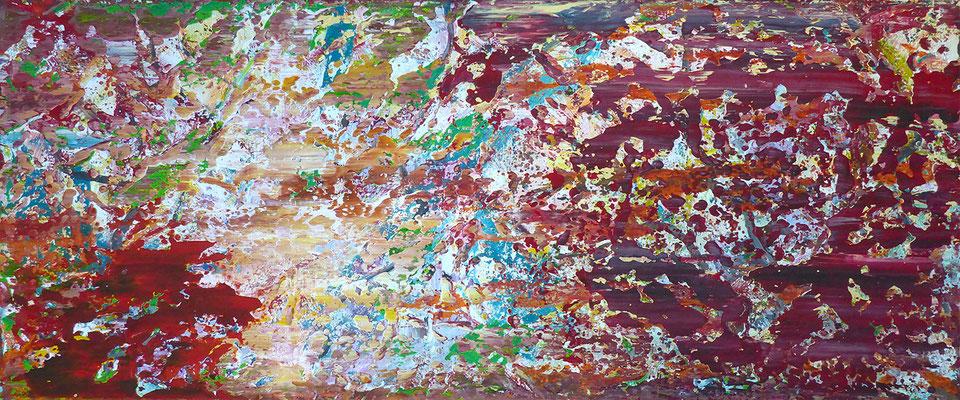 abstrakte Komposition, 50x120 cm, Acryl auf Leinwand, Werknummer 10, In mehreren Durchgängen mit dem Rakel angelegte partielle Farbflächen in der Hauptfarbe Rot sowie Hellblau, Beige, Grün und Gelb.