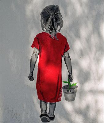 Mädchen im roten Kleid - Planten un Blomen