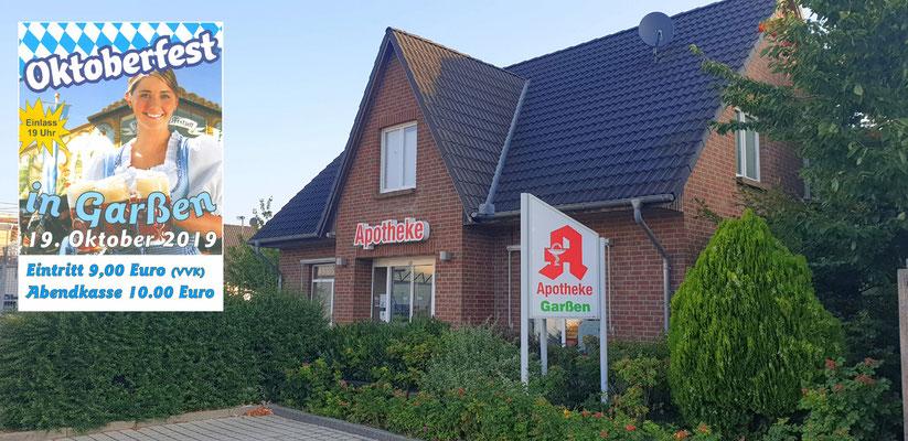 Die Apotheke Garßen ist eine unserer Vorverkaufsstellen in Garßen: Apotheke Garßen (neben dem REWE-Markt), Iris Ahrend e. K., Wittenbergstraße 2, 29229 Celle-Garßen