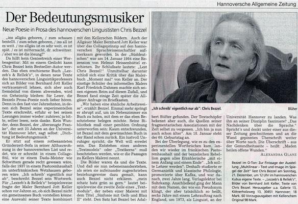 Hannoversche Allgemeine Zeitung · Der Beutungsmusiker von Alexandra Glanz