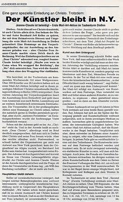 Ammerseekurier · Der Künstler bleibt in NY · Jeanne-Claude ist beleidigt