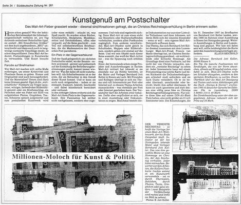 Süddeutsche Zeitung · Kunstgenuß am Postschalter - Mailart - von Klaus Reichold