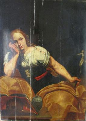 huile sur panneau de bois représentant Marie Madeleine avant nettoyage et dévernissage