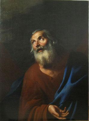 """Détail,huile sur toile """"Saint Pierre"""" aprés nettoyage et dévernissage"""