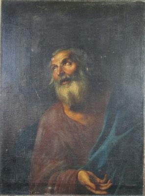 """Détail,huile sur toile """"Saint Pierre"""" avant nettoyage et dévernissage"""