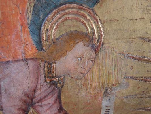 retouche trattegio à l'aquarelle sur une détrempe sur panneau du 15eme siecle