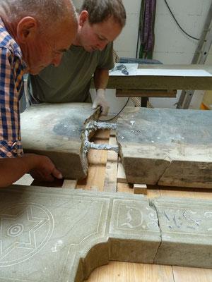 Trittofensanierung, Restaurierung, Steinmetzarbeit