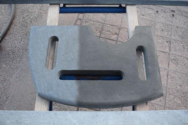 Specksteinplatte Russablagerungen entfernen, Steinmetz Wimmis