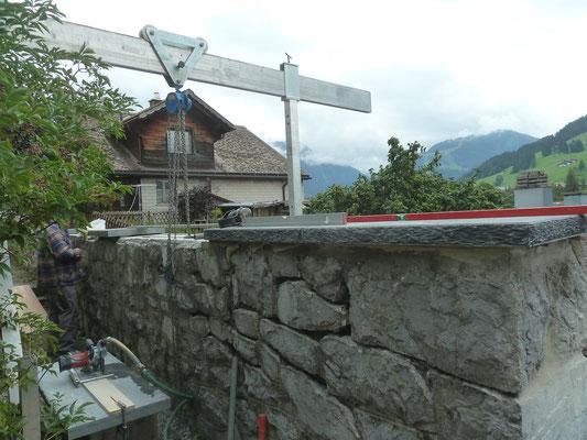 Mauersanierung, Amthaus Saanen, Steinmetz Iseli