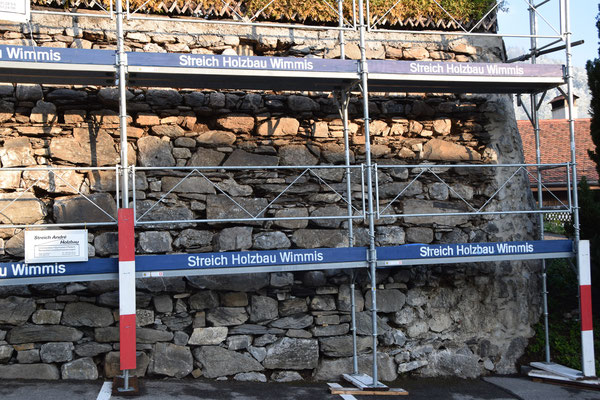 Sanierung Bruchsteinmauer, Pfarrhaus Wimmis, André Iseli Steinmetz,