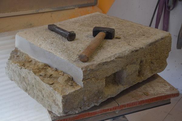 Lavabo aus Solothurner Kalkstein,