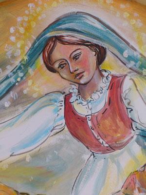 La Madonna della Neve, mesta,veglia e protegge i suoi figli costretti a partire verso l' ignoto.