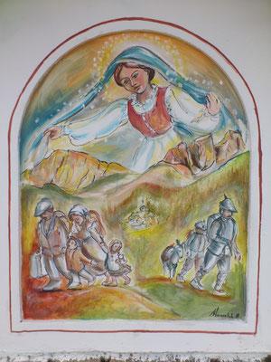 Nella prima nicchia è narrata la storia di quando, chi per emigrazione, chi per  dovere, ha dovuto lasciare la vallata d' origine.