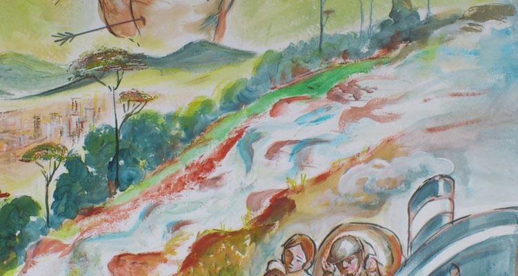 Il luogo a loro assegnato era sopra il Salto di Luis Alves. Dovettero aprirsi i sentieri nella foresta vergine, combattere contro legno durissimo, serpenti, insetti e animali mai visti.