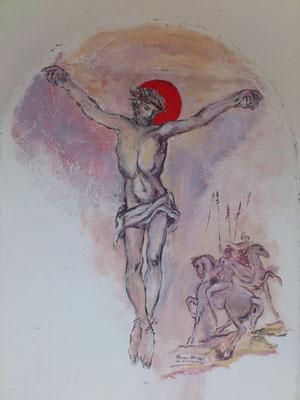 """Il """"Cristos dos Alpes"""" all' interno della nicchia frontale,  è dipinto da Franco Murer."""
